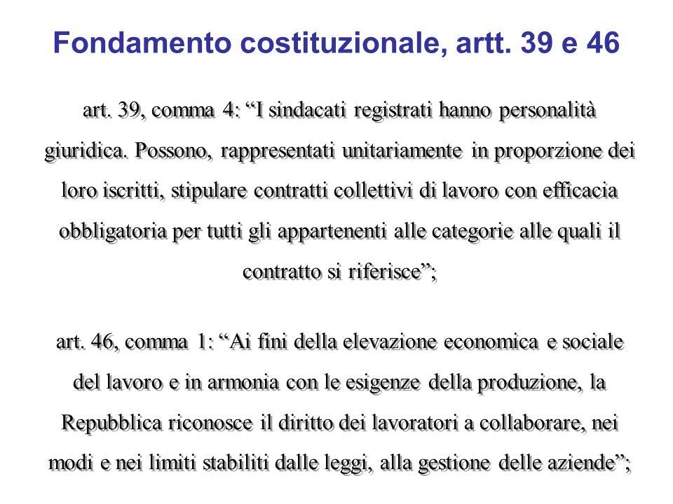 Fondamento costituzionale, artt. 39 e 46 art. 39, comma 4: I sindacati registrati hanno personalità giuridica. Possono, rappresentati unitariamente in