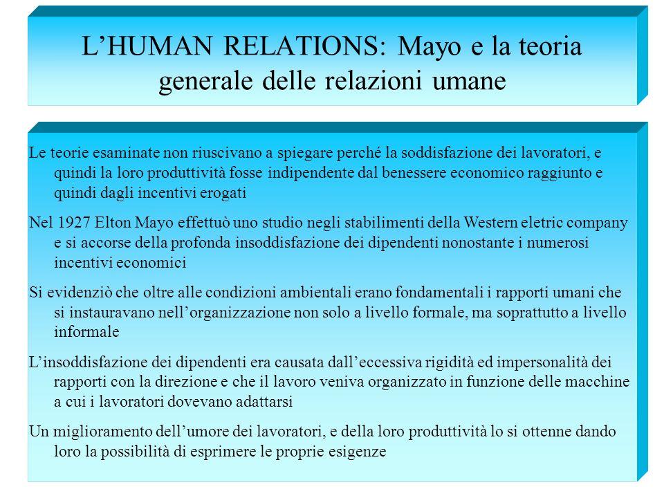 LHUMAN RELATIONS: Mayo e la teoria generale delle relazioni umane Le teorie esaminate non riuscivano a spiegare perché la soddisfazione dei lavoratori