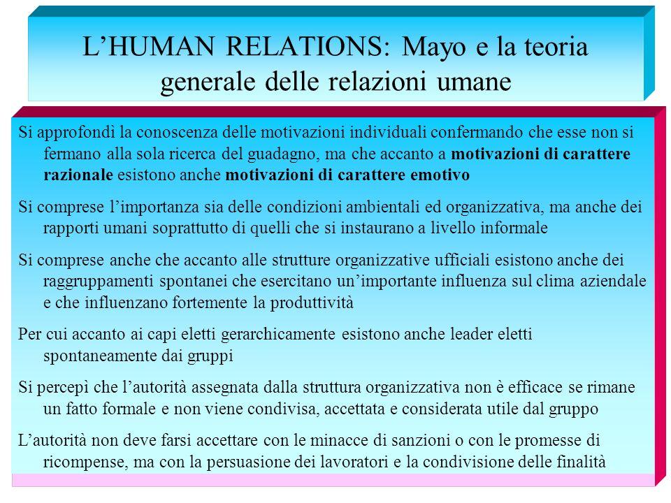 LHUMAN RELATIONS: Mayo e la teoria generale delle relazioni umane Si approfondì la conoscenza delle motivazioni individuali confermando che esse non s