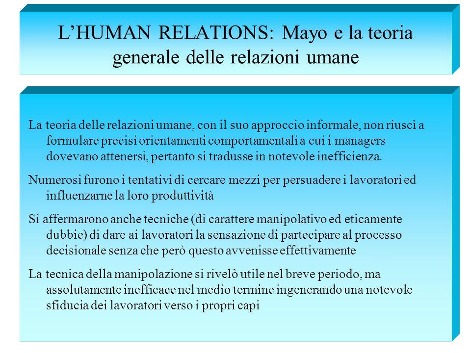 LHUMAN RELATIONS: Mayo e la teoria generale delle relazioni umane La teoria delle relazioni umane, con il suo approccio informale, non riuscì a formul