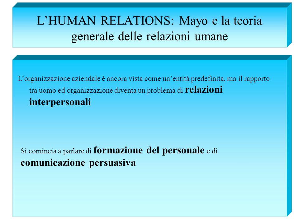 LHUMAN RELATIONS: Mayo e la teoria generale delle relazioni umane Lorganizzazione aziendale è ancora vista come unentità predefinita, ma il rapporto t