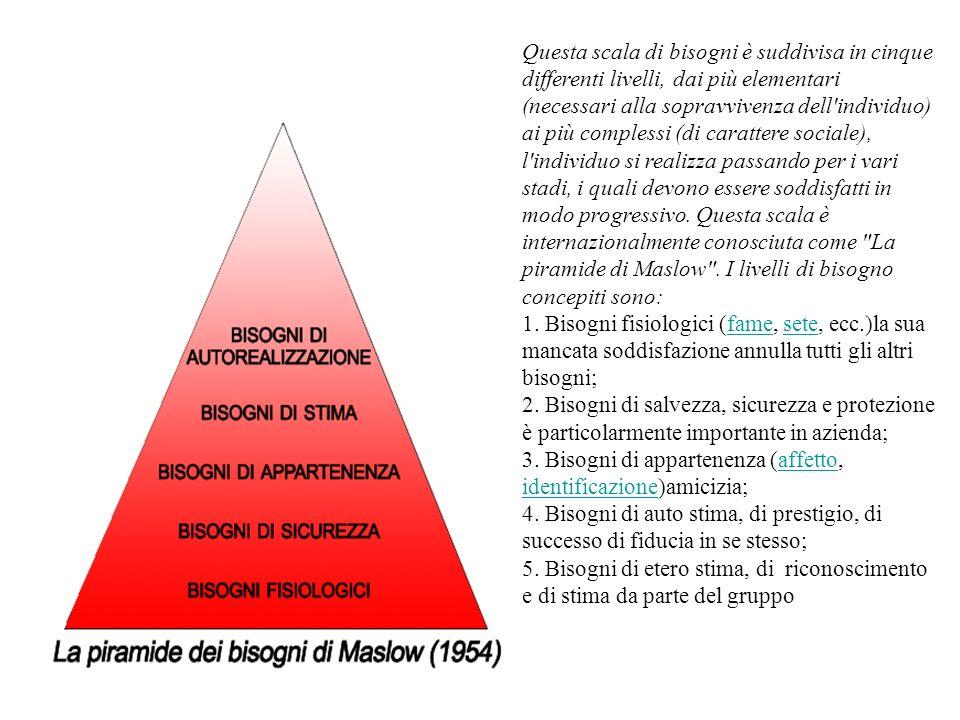 Questa scala di bisogni è suddivisa in cinque differenti livelli, dai più elementari (necessari alla sopravvivenza dell'individuo) ai più complessi (d