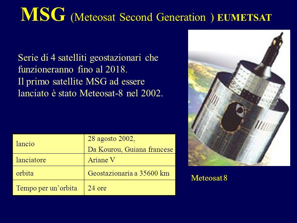 Serie di 4 satelliti geostazionari che funzioneranno fino al 2018. Il primo satellite MSG ad essere lanciato è stato Meteosat-8 nel 2002. lancio 28 ag