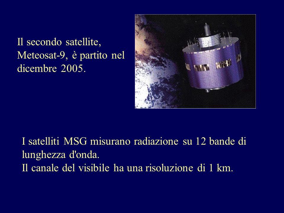 Il secondo satellite, Meteosat-9, è partito nel dicembre 2005. I satelliti MSG misurano radiazione su 12 bande di lunghezza d'onda. Il canale del visi