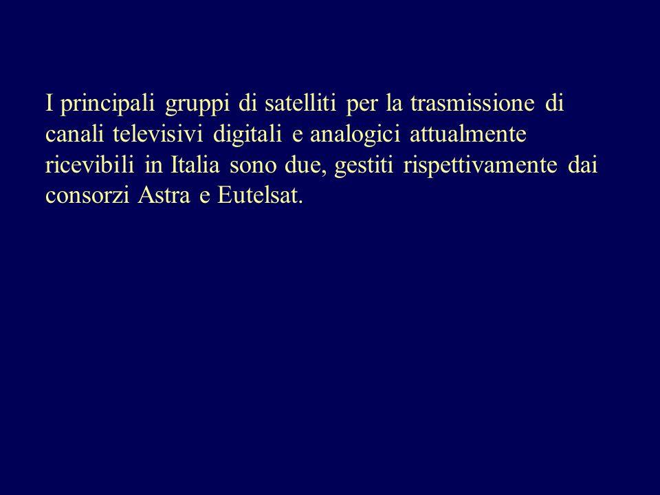 I principali gruppi di satelliti per la trasmissione di canali televisivi digitali e analogici attualmente ricevibili in Italia sono due, gestiti risp