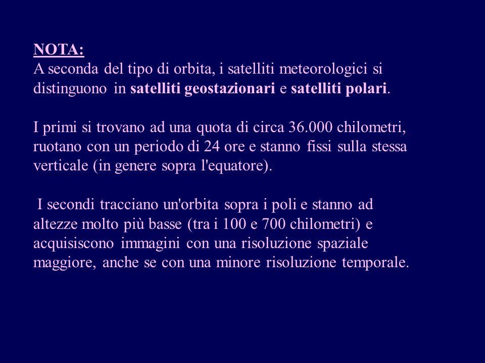 NOTA: A seconda del tipo di orbita, i satelliti meteorologici si distinguono in satelliti geostazionari e satelliti polari. I primi si trovano ad una
