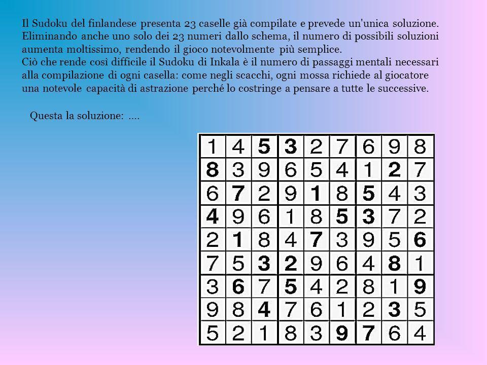 Il Sudoku del finlandese presenta 23 caselle già compilate e prevede un'unica soluzione. Eliminando anche uno solo dei 23 numeri dallo schema, il nume