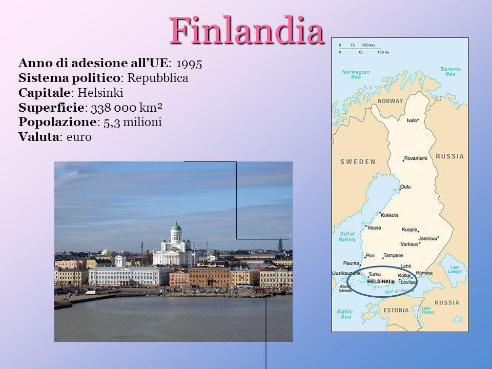 Finlandia Anno di adesione allUE: 1995 Sistema politico: Repubblica Capitale: Helsinki Superficie: 338 000 km² Popolazione: 5,3 milioni Valuta: euro