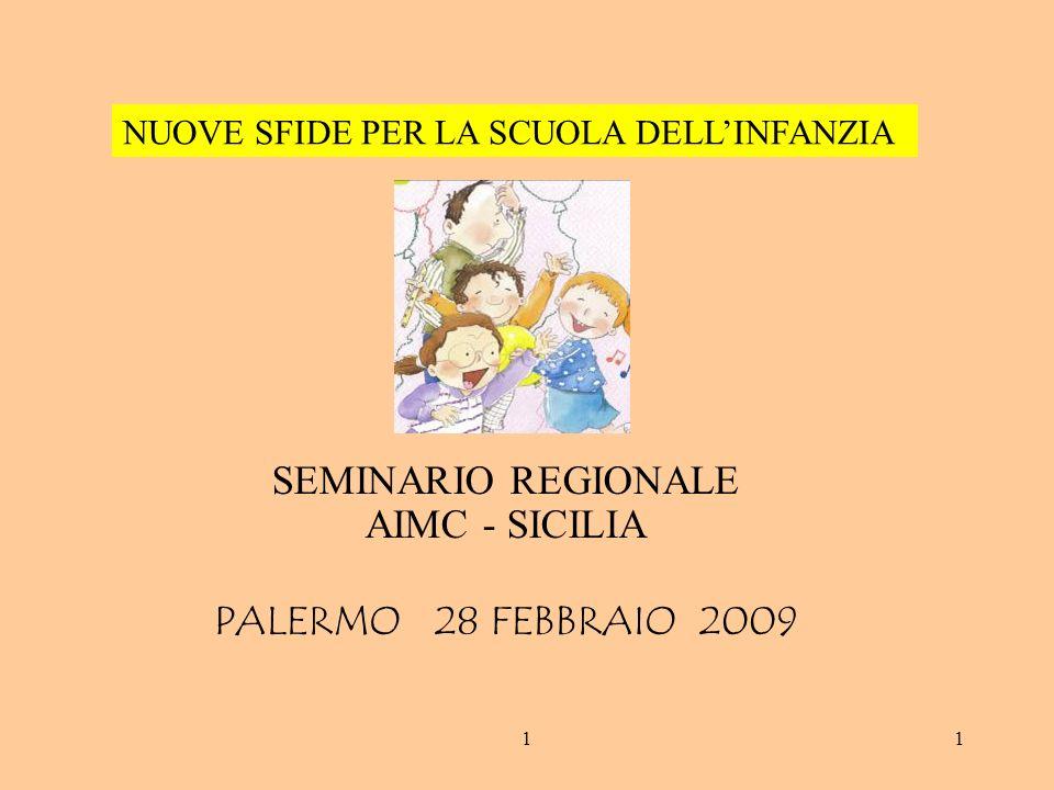 11 SEMINARIO REGIONALE AIMC - SICILIA PALERMO 28 FEBBRAIO 2009 NUOVE SFIDE PER LA SCUOLA DELLINFANZIA