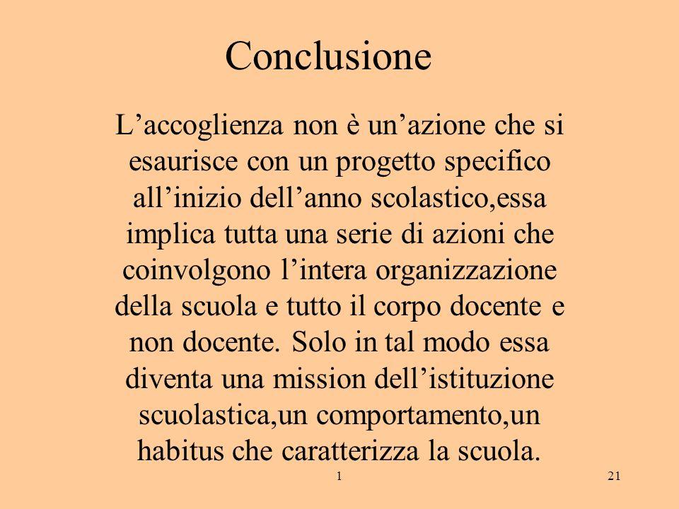 121 Conclusione Laccoglienza non è unazione che si esaurisce con un progetto specifico allinizio dellanno scolastico,essa implica tutta una serie di a