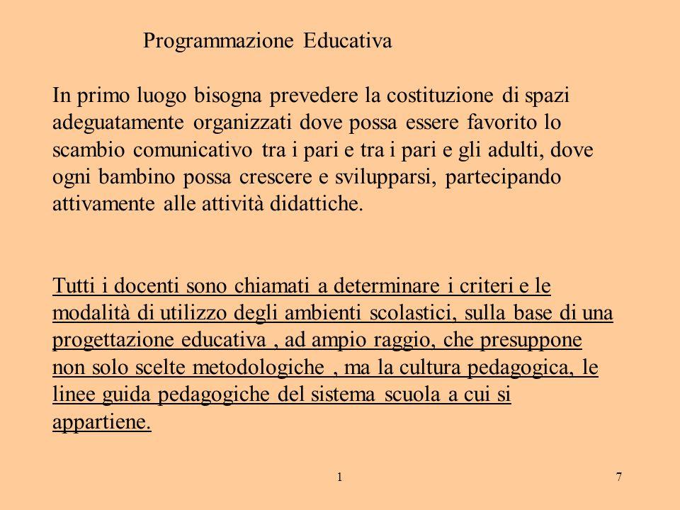 17 Programmazione Educativa In primo luogo bisogna prevedere la costituzione di spazi adeguatamente organizzati dove possa essere favorito lo scambio