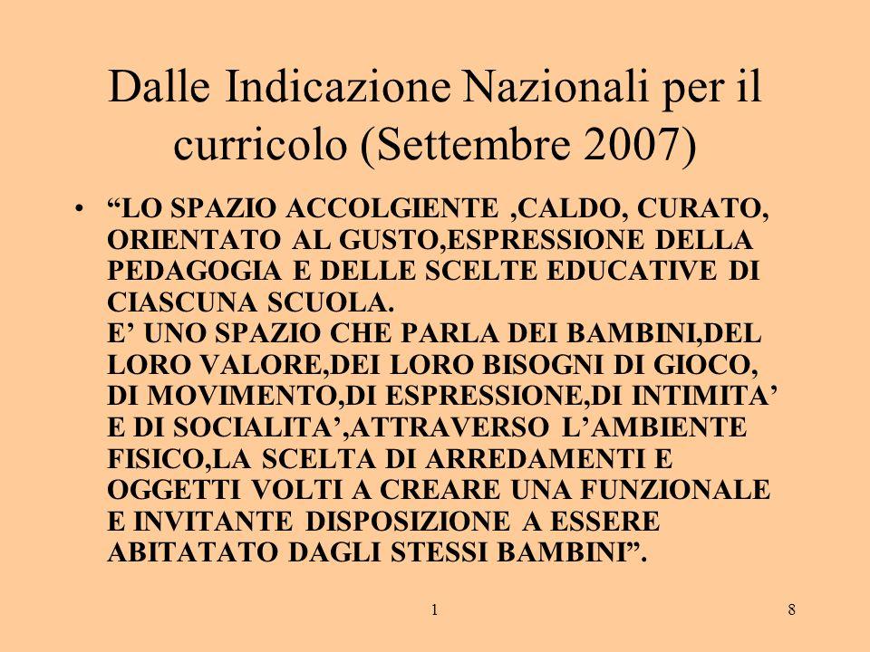 18 Dalle Indicazione Nazionali per il curricolo (Settembre 2007) LO SPAZIO ACCOLGIENTE,CALDO, CURATO, ORIENTATO AL GUSTO,ESPRESSIONE DELLA PEDAGOGIA E