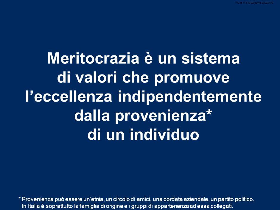2 Meritocrazia è un sistema di valori che promuove leccellenza indipendentemente dalla provenienza* di un individuo *Provenienza può essere unetnia, un circolo di amici, una cordata aziendale, un partito politico.