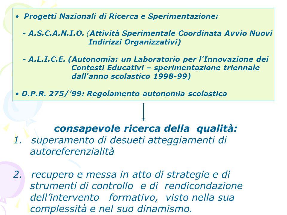 ricerca della qualità direttamente proporzionale al rinnovato interesse per lazione valutativa PISTA DI RIFLESSIONE 1.
