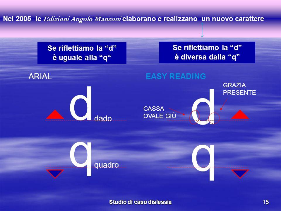 Studio di caso dislessia15 Nel 2005 le Edizioni Angolo Manzoni elaborano e realizzano un nuovo carattere q d dado d q quadro ARIALEASY READING GRAZIA