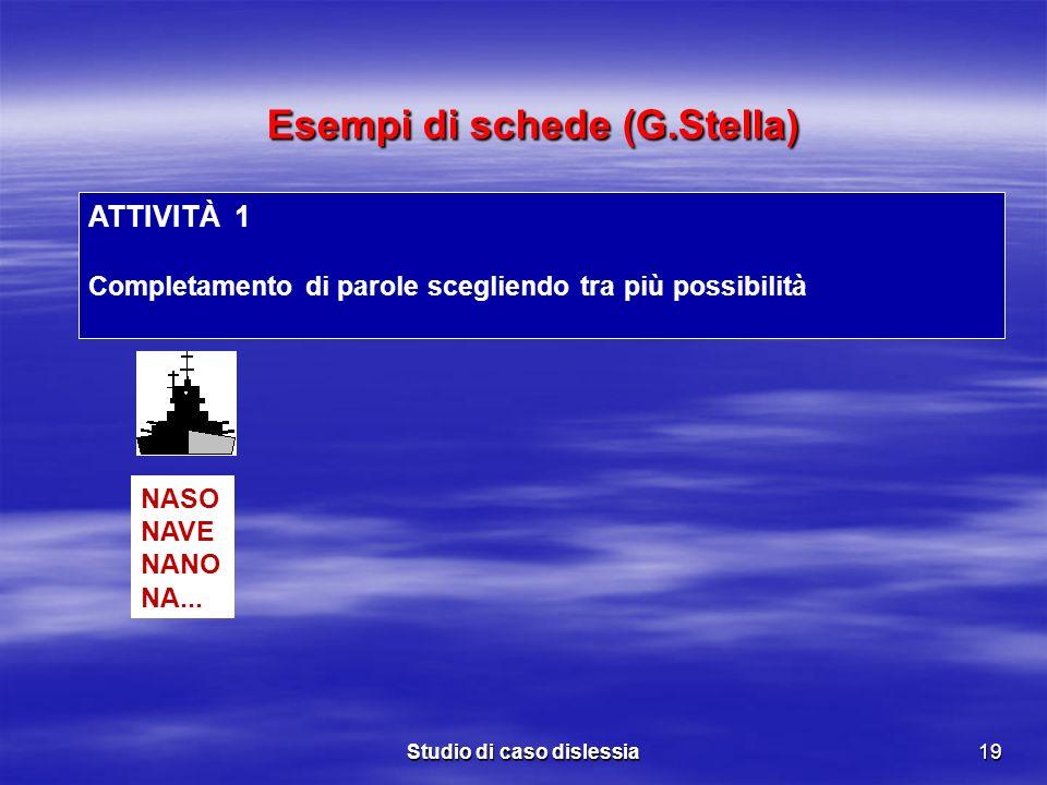 Studio di caso dislessia19 ATTIVITÀ 1 Completamento di parole scegliendo tra più possibilità NASO NAVE NANO NA... Esempi di schede (G.Stella) Esempi d