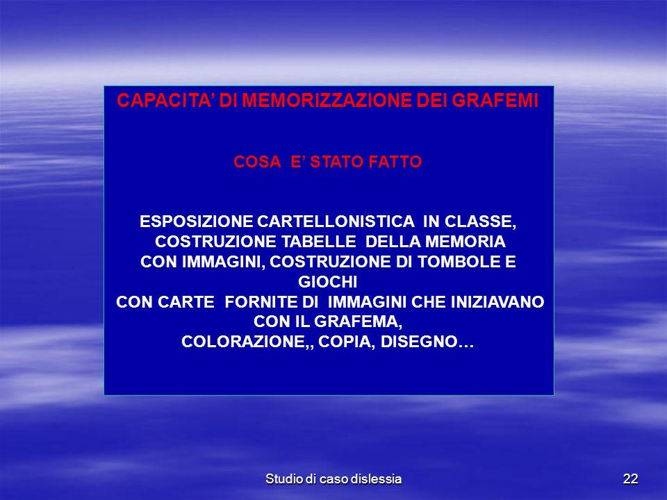 Studio di caso dislessia22 CAPACITA DI MEMORIZZAZIONE DEI GRAFEMI COSA E STATO FATTO ESPOSIZIONE CARTELLONISTICA IN CLASSE, COSTRUZIONE TABELLE DELLA