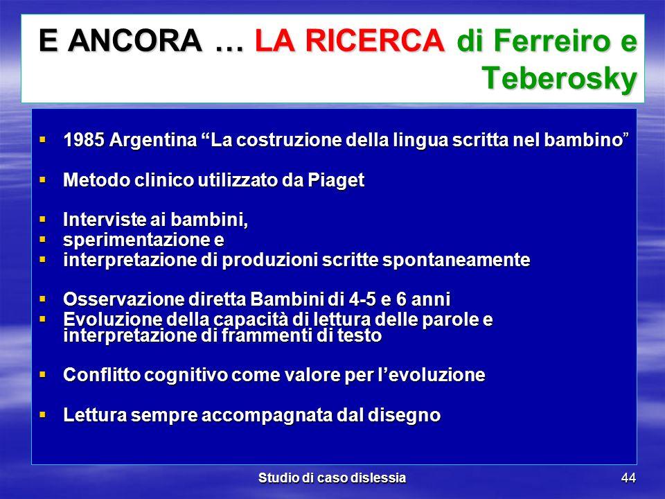 Studio di caso dislessia44 E ANCORA … LA RICERCA di Ferreiro e Teberosky 1985 Argentina La costruzione della lingua scritta nel bambino 1985 Argentina