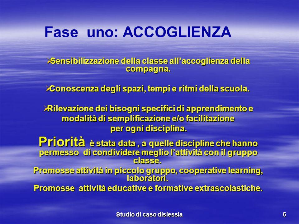 Studio di caso dislessia5 Sensibilizzazione della classe allaccoglienza della compagna. Sensibilizzazione della classe allaccoglienza della compagna.