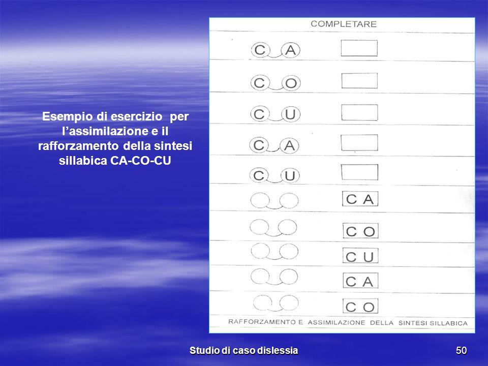 Studio di caso dislessia50 Esempio di esercizio per lassimilazione e il rafforzamento della sintesi sillabica CA-CO-CU