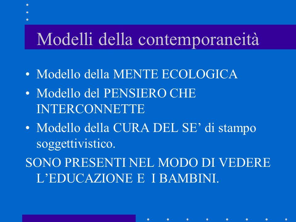 Modelli della contemporaneità Modello della MENTE ECOLOGICA Modello del PENSIERO CHE INTERCONNETTE Modello della CURA DEL SE di stampo soggettivistico