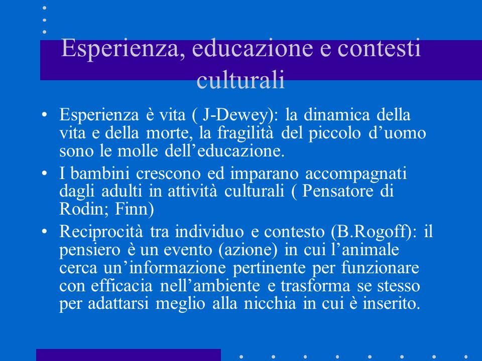 Esperienza, educazione e contesti culturali Esperienza è vita ( J-Dewey): la dinamica della vita e della morte, la fragilità del piccolo duomo sono le