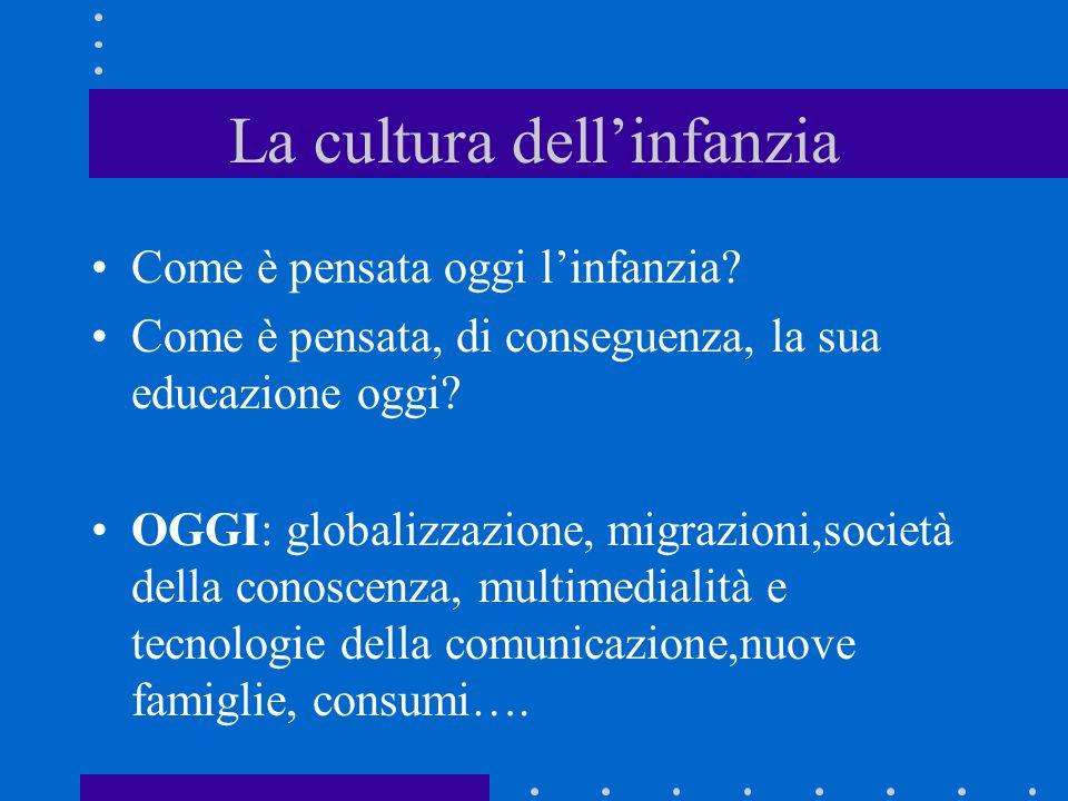 La cultura dellinfanzia Come è pensata oggi linfanzia? Come è pensata, di conseguenza, la sua educazione oggi? OGGI: globalizzazione, migrazioni,socie