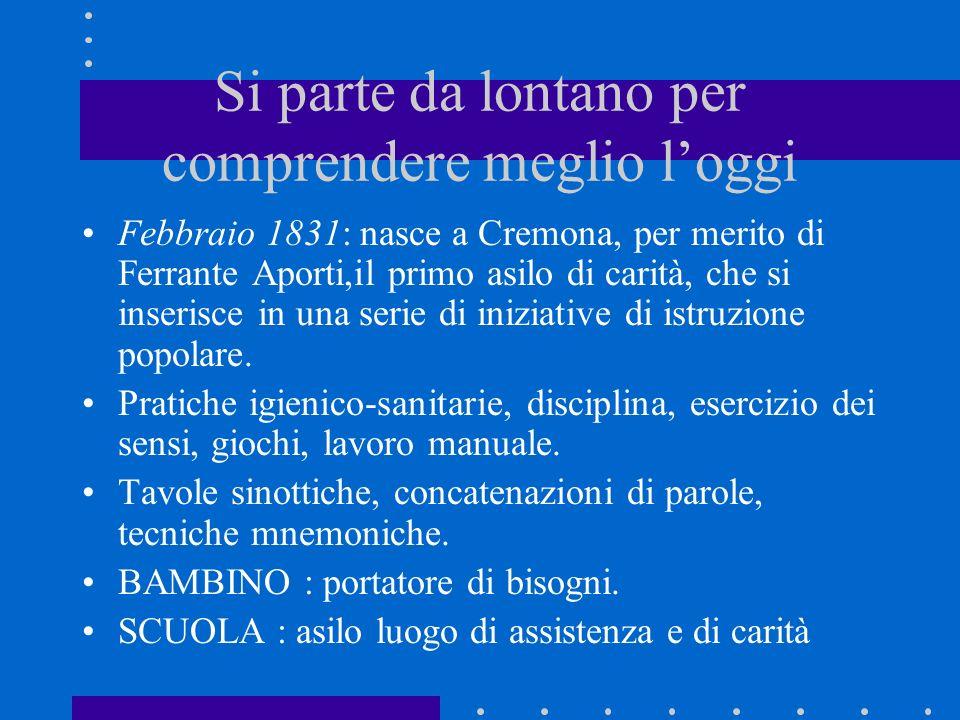 Si parte da lontano per comprendere meglio loggi Febbraio 1831: nasce a Cremona, per merito di Ferrante Aporti,il primo asilo di carità, che si inseri