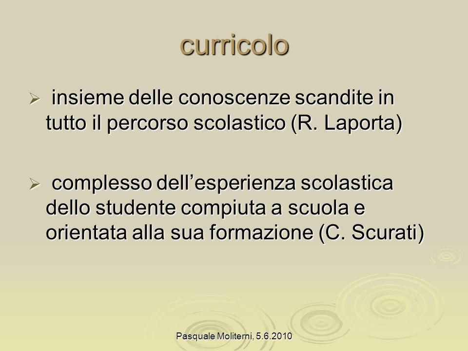 Pasquale Moliterni, 5.6.2010 curricolo insieme delle conoscenze scandite in tutto il percorso scolastico (R.