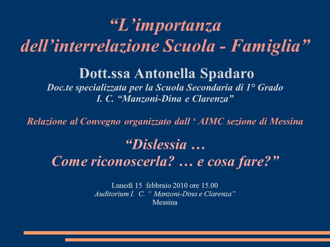 Limportanza dellinterrelazione Scuola - Famiglia Dott.ssa Antonella Spadaro Doc.te specializzata per la Scuola Secondaria di 1° Grado I. C. Manzoni-Di