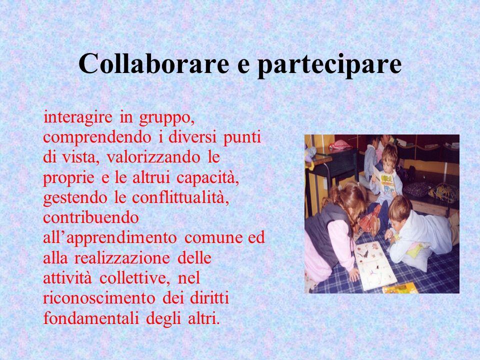 Collaborare e partecipare interagire in gruppo, comprendendo i diversi punti di vista, valorizzando le proprie e le altrui capacità, gestendo le confl