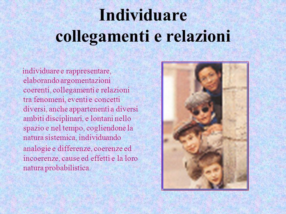 Individuare collegamenti e relazioni individuare e rappresentare, elaborando argomentazioni coerenti, collegamenti e relazioni tra fenomeni, eventi e