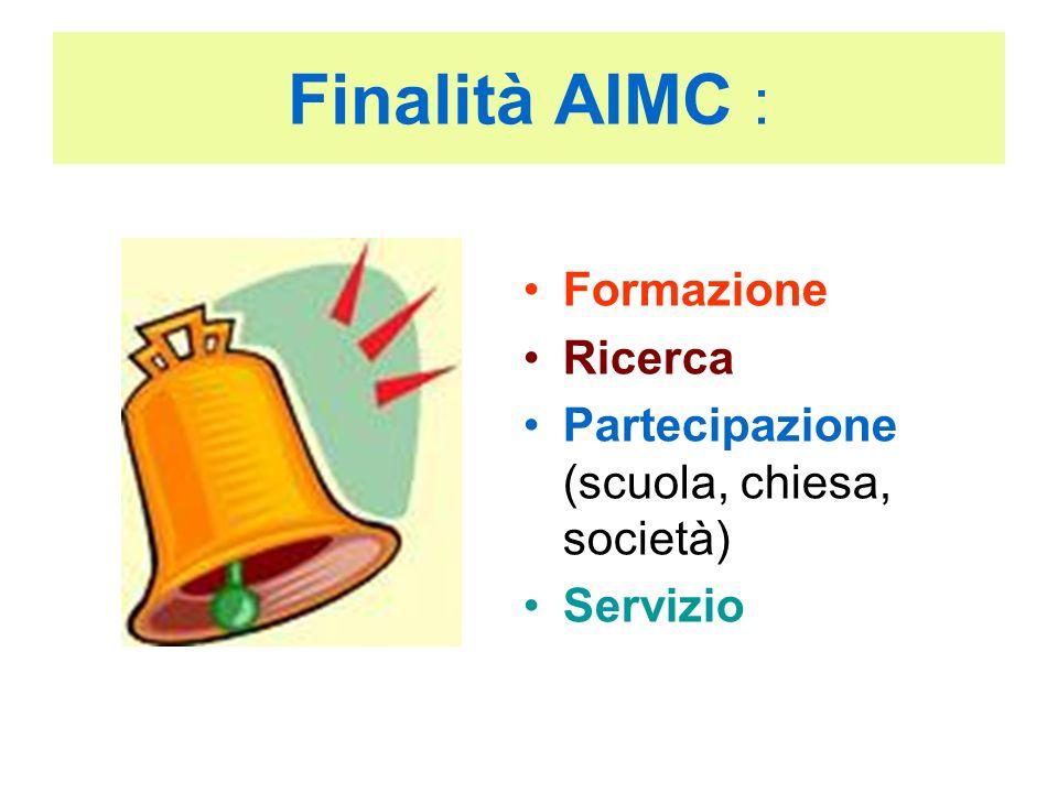 Finalità AIMC : Formazione Ricerca Partecipazione (scuola, chiesa, società) Servizio