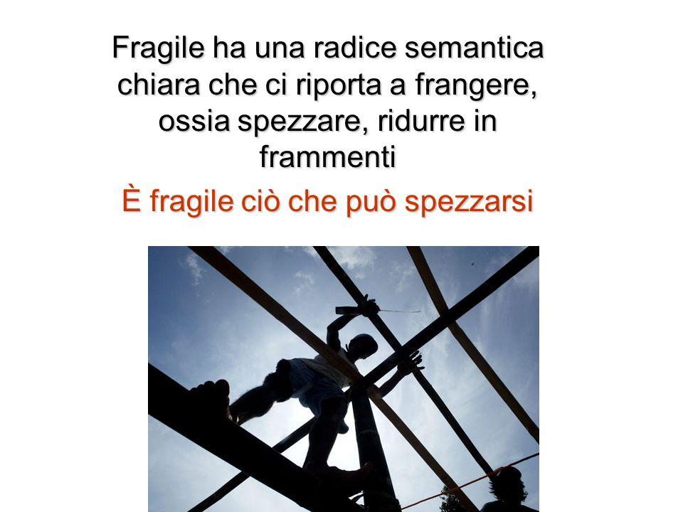 Fragile ha una radice semantica chiara che ci riporta a frangere, ossia spezzare, ridurre in frammenti È fragile ciò che può spezzarsi