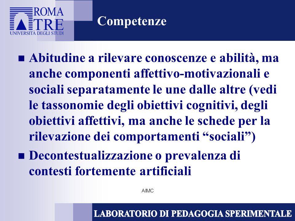 AIMC Competenze Abitudine a rilevare conoscenze e abilità, ma anche componenti affettivo-motivazionali e sociali separatamente le une dalle altre (vedi le tassonomie degli obiettivi cognitivi, degli obiettivi affettivi, ma anche le schede per la rilevazione dei comportamenti sociali) Decontestualizzazione o prevalenza di contesti fortemente artificiali