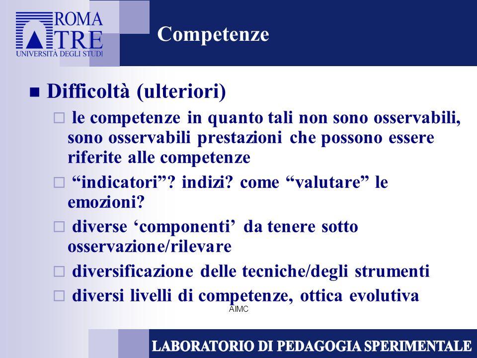AIMC Competenze Difficoltà (ulteriori) le competenze in quanto tali non sono osservabili, sono osservabili prestazioni che possono essere riferite alle competenze indicatori.