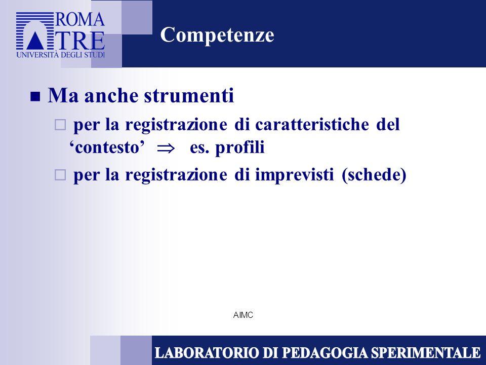 AIMC Competenze Ma anche strumenti per la registrazione di caratteristiche del contesto es. profili per la registrazione di imprevisti (schede)