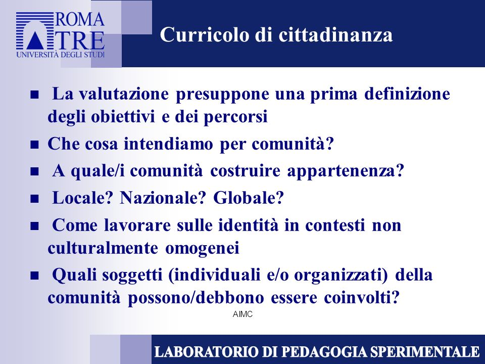 AIMC Curricolo di cittadinanza La valutazione presuppone una prima definizione degli obiettivi e dei percorsi Che cosa intendiamo per comunità.