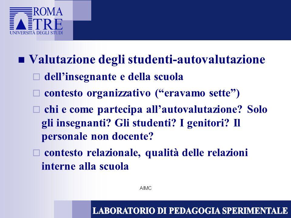 AIMC Valutazione degli studenti-autovalutazione dellinsegnante e della scuola contesto organizzativo (eravamo sette) chi e come partecipa allautovalut