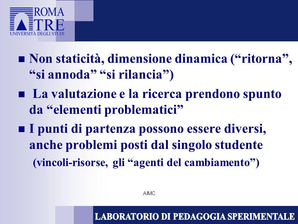 AIMC Non staticità, dimensione dinamica (ritorna, si annoda si rilancia) La valutazione e la ricerca prendono spunto da elementi problematici I punti di partenza possono essere diversi, anche problemi posti dal singolo studente (vincoli-risorse, gli agenti del cambiamento)