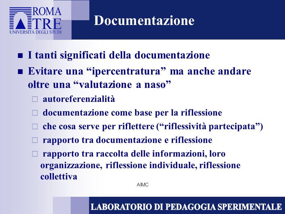AIMC Documentazione I tanti significati della documentazione Evitare una ipercentratura ma anche andare oltre una valutazione a naso autoreferenzialità documentazione come base per la riflessione che cosa serve per riflettere (riflessività partecipata) rapporto tra documentazione e riflessione rapporto tra raccolta delle informazioni, loro organizzazione, riflessione individuale, riflessione collettiva
