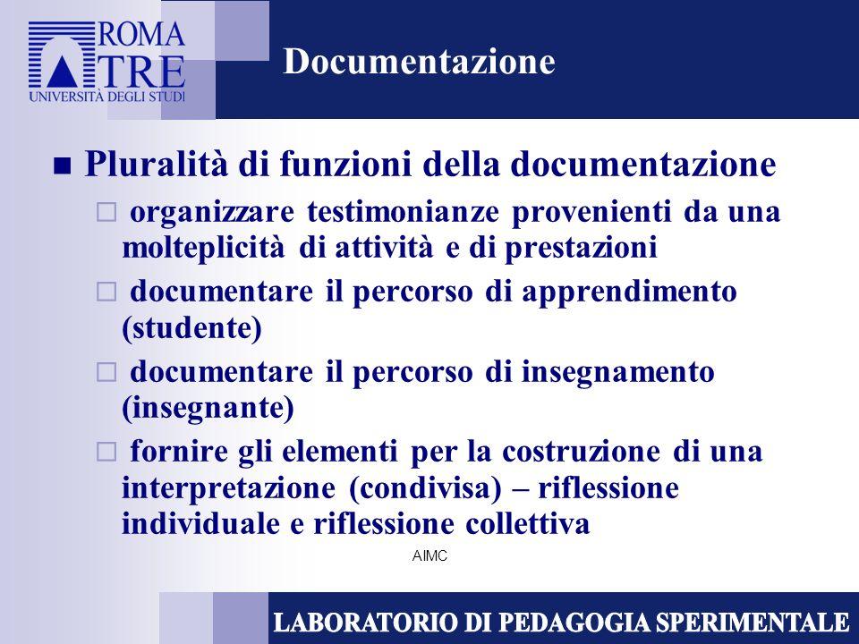 AIMC Documentazione Pluralità di funzioni della documentazione organizzare testimonianze provenienti da una molteplicità di attività e di prestazioni