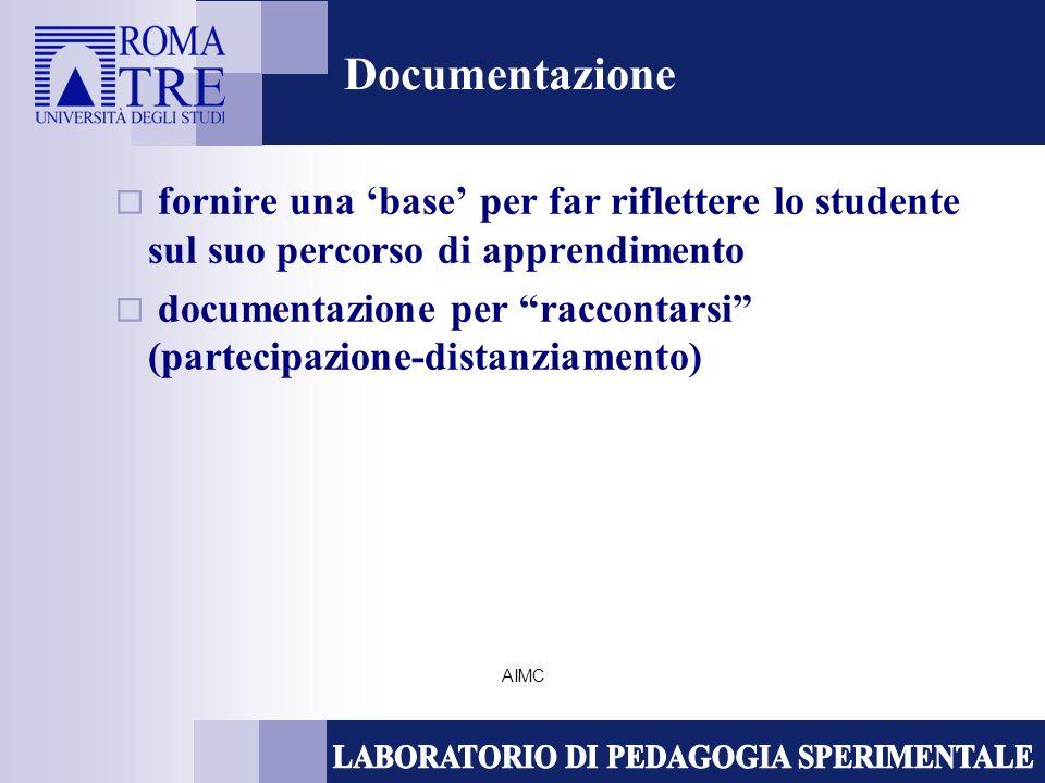 AIMC Documentazione fornire una base per far riflettere lo studente sul suo percorso di apprendimento documentazione per raccontarsi (partecipazione-d