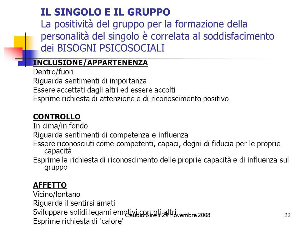 Claudio Girelli 29 novembre 200822 IL SINGOLO E IL GRUPPO La positività del gruppo per la formazione della personalità del singolo è correlata al sodd