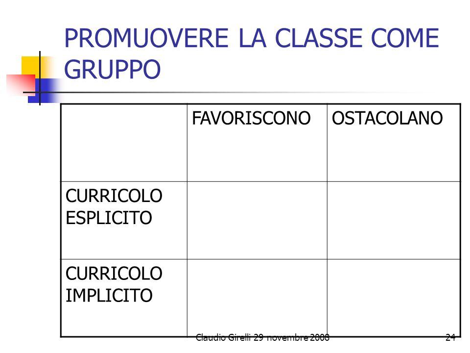 Claudio Girelli 29 novembre 200824 PROMUOVERE LA CLASSE COME GRUPPO FAVORISCONOOSTACOLANO CURRICOLO ESPLICITO CURRICOLO IMPLICITO