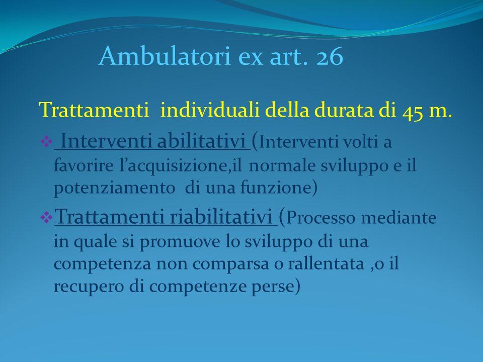 Ambulatori ex art. 26 Trattamenti individuali della durata di 45 m. Interventi abilitativi ( Interventi volti a favorire lacquisizione,il normale svil