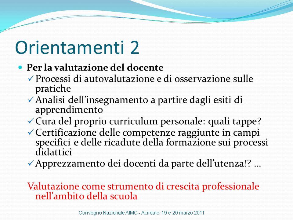 Orientamenti 2 Per la valutazione del docente Processi di autovalutazione e di osservazione sulle pratiche Analisi dellinsegnamento a partire dagli esiti di apprendimento Cura del proprio curriculum personale: quali tappe.