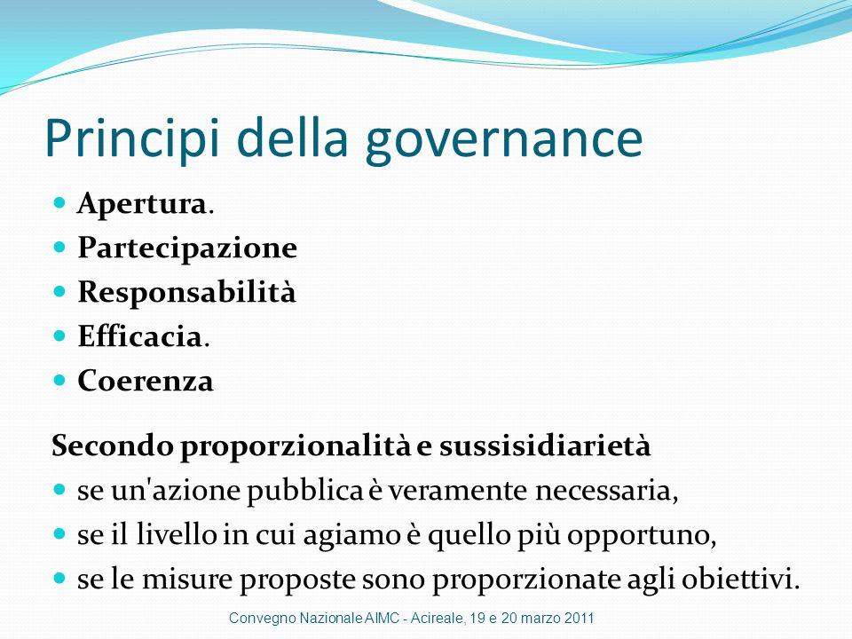 Principi della governance Apertura.Partecipazione Responsabilità Efficacia.
