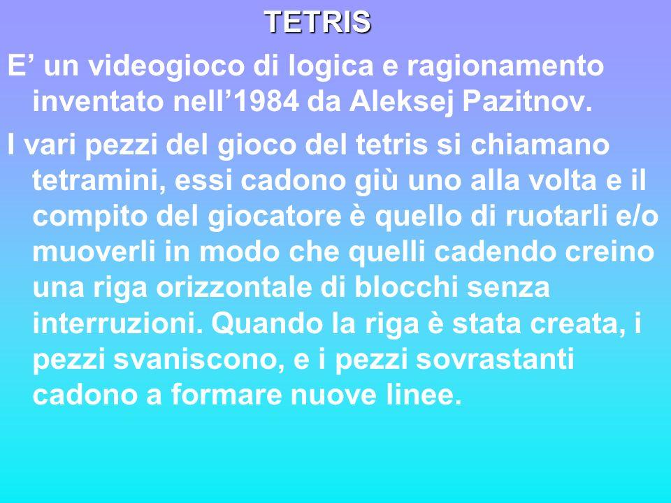 TETRIS TETRIS E un videogioco di logica e ragionamento inventato nell1984 da Aleksej Pazitnov. I vari pezzi del gioco del tetris si chiamano tetramini