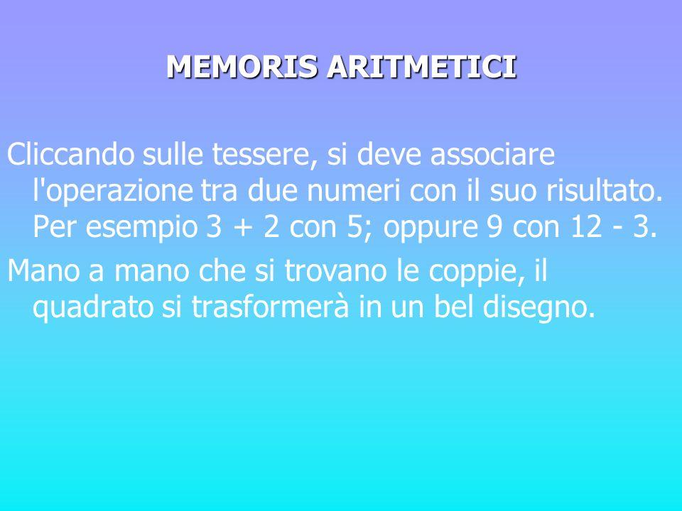 MEMORIS ARITMETICI Cliccando sulle tessere, si deve associare l'operazione tra due numeri con il suo risultato. Per esempio 3 + 2 con 5; oppure 9 con